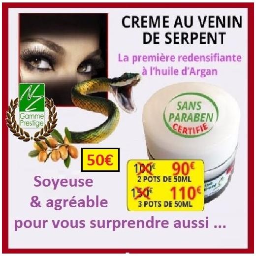 Lot de 2 Crèmes au venin de serpent gamme PRESTIGE (sans paraben)